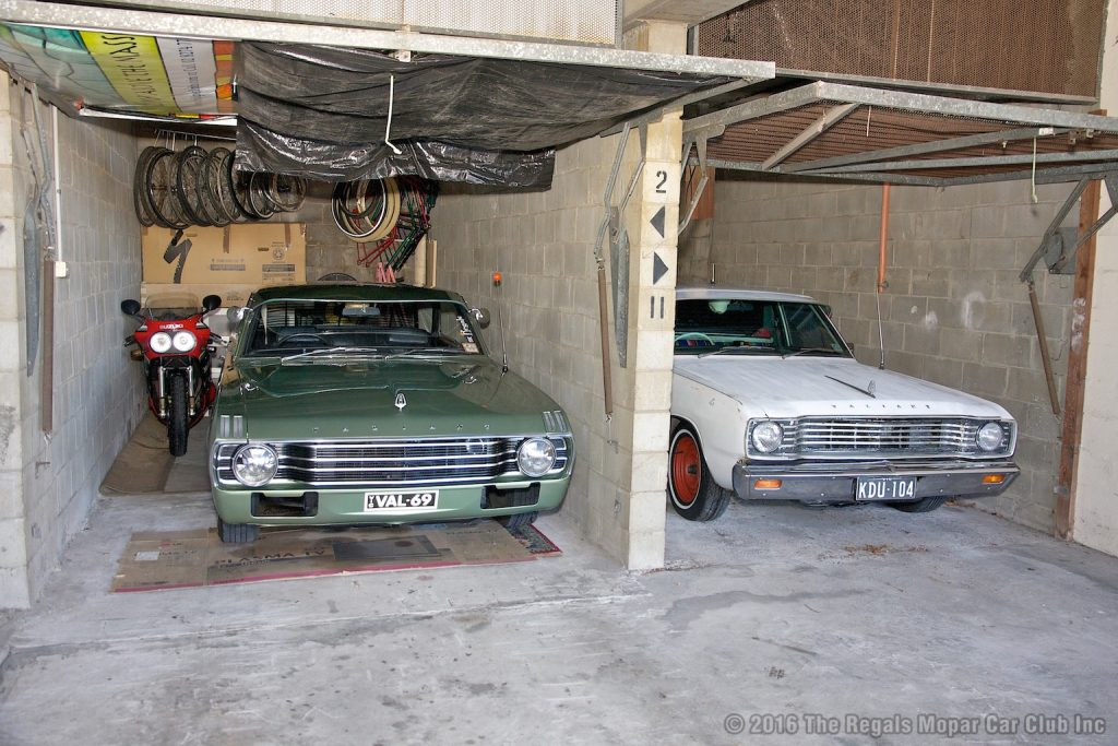 Mark's unit comes with one lock up garage which houses the Hardtop and bike, and one open car spot which the SAAB resides in. An additional lock up garage is rented from another tenant to keep the ute safe.