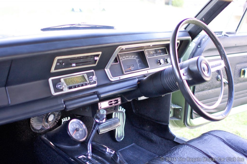 The interior in the 770 Hardtop is nothing short of immaculate. Quirky but cool period additions include super rare '68 GTS Monaro taco and an eight track tape deck.