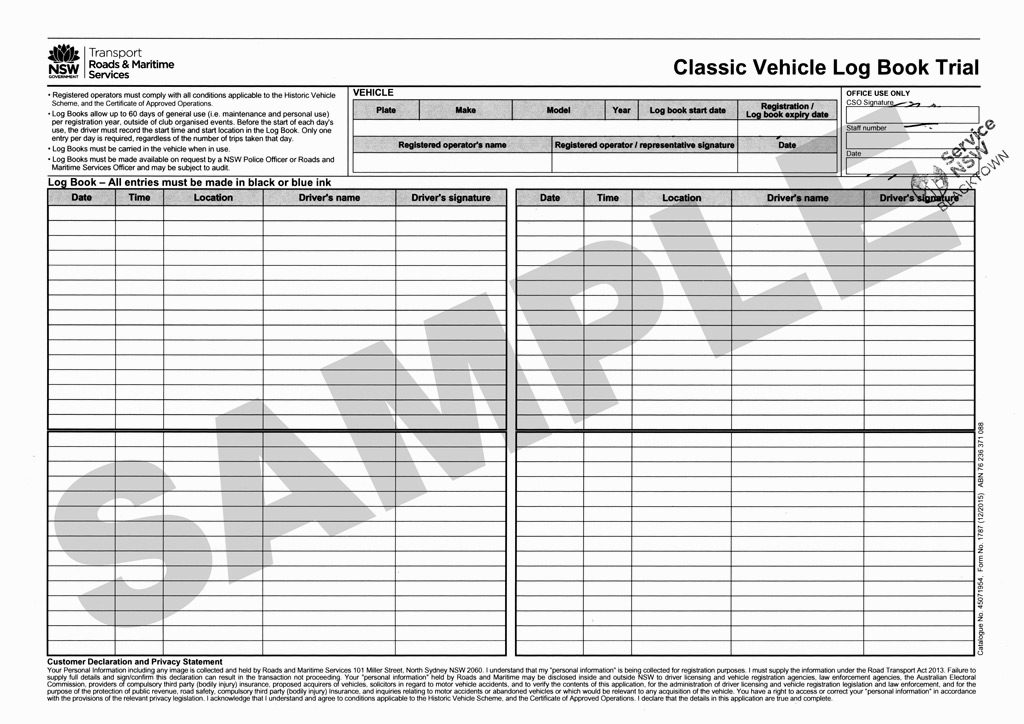 The Classic Vehicle Log Book. Which is actually just a piece of A4 paper.